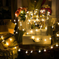 10-40LED Hanging Light Lamps Star Fairy String Wedding Xmas Party Christmas Tree