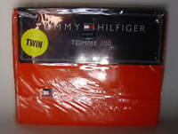TOMMY HILFIGER 200 Cotton TWIN Size Flat Bed Sheet Solid ORANGE NEW NWT