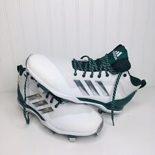 New Adidas Mens B39191 White,Silver Dark Green Baseball Cleats Size 13