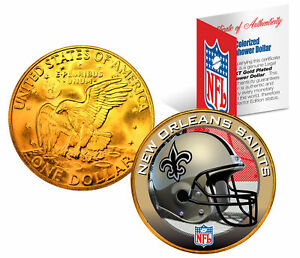 NEW ORLEANS SAINTS NFL 24K Gold Plated IKE Dollar US Coin *OFFICIALLY LICENSED*