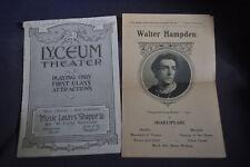 Ca 1910 Walter Hampden in Shakespeare Repertoire Lyceum Theater Programs