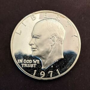 1971-S 40% Silver Eisenhower Dollar Uncirculated Proof Deep Cameo