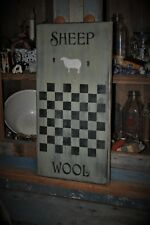 Ex Lg Wood Sage Green Sheep Wool Game Board Country Primitive Rustic Folk Art