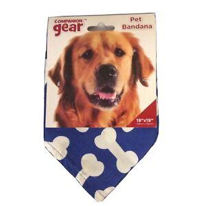 Companion Gear Pet Dog Blue Bone Bandana 19 x 19