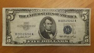 1953 $5 Silver Certificate Blue Seal Error Note - Printed Off Center - Vintage