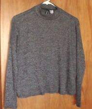 Women's H&M Lightweight Mock TurtleNeck Cropped Top Size S Heathered Blk & Wht