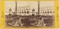 Napoli Monaco Chiostro S.Martini Italia Foto Stereo Vintage Albumina c1865