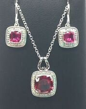 Sterling Silver Cushion Pink Tourmaline Dotted Halo Necklace Dangle Earring Set