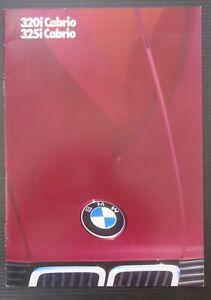 BMW 320i / 325i Cabrio E30 Serie 3 brochure originale italiano dati tecnici