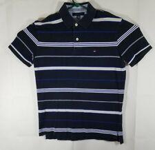 Tommy Hilfiger Mens Polo Shirt Black/white/blue Stripes Size Large