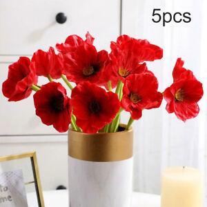 5PCS Artificial Red Poppy Flower Stem Decorative Silk Red Flowers Home Decor
