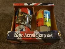 The Beatles Abbey Road and Fab Four Images 20 oz Acrylic Cup Set of 2 NEW UNUSED