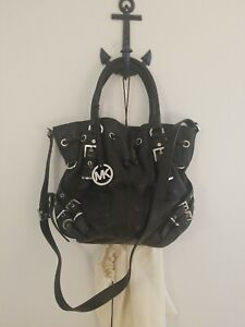 Authentic Michael Kors Hobo Purse Black Leather with Dust Bag-AP 1107