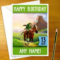 OCARINA OF TIME LINK Personalised Birthday Card - large nintendo zelda n64 3ds