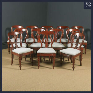 Antique Victorian Set of 12 Twelve Mahogany Balloon Spear Back Dining Chairs