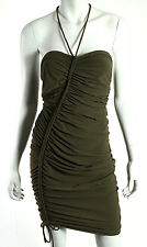 LANVIN Olive Green Nylon Stretch Jersey Ruched Halter Coverup Dress 40