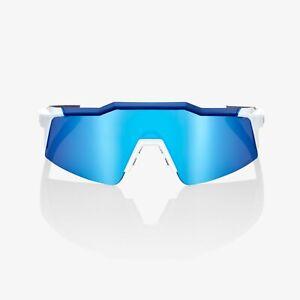 100% Sports Performance Sunglasses Speedcraft SL Matte White HiPER Blue Mirror
