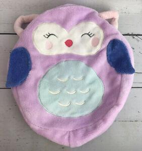"""Carters Purple Owl Round Pillow Cover Super Soft Pillow Case 12x10"""" EUC BP1"""