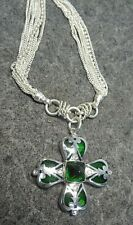 """Green Glass Cross Looking Pendant on 9 Strand Chain- Sterling Silver 16"""""""