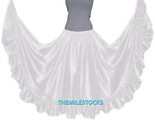 TMS Satin Flamenco Skirt Belly Dance Tribal Gypsy Tiered Full Ruffle Troup Jupe