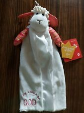 """Wee Believers 15"""" Levi the Little Lamb Lovie Embroidered Blanket I am a Child"""