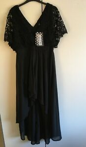 Girl In Mind Dress High Low Hem Black Lace Bodice Lined Size 14 New with Tags