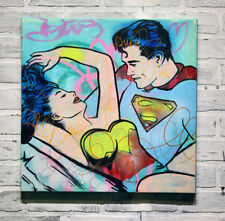 Superman and beauty Girl Alec Monopoly Hand painted oil painting on canvas 30