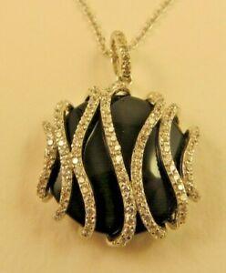 Sterling Silver Round black stone Pendant Necklace made with Swarovski Zirconia