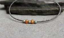 Seed Bead Necklace Chocker with Orange Carnelian 17 inch Necklace