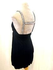 Miss Selfridge Petites Black silver sparkle open back Plunge Drape dress S bnwot