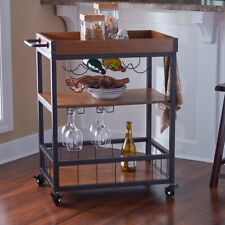 Industrial Trolley Wood Shelves Serving Drinks Cart Tray Kitchen Wine Rack Wheel