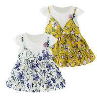 Infant Kid Baby Girl Short Sleeve Floral Flower Printed Princess Dress Clothing