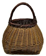 Vintage Rattan Basket with Handle Large Free Standing Basket Weave Wicker Decor