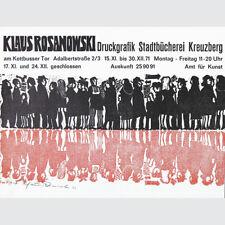 Klaus Rosanowski. Druckgrafik. Ausstellungsplakat Stadtbücherei Kreuzberg 1971.