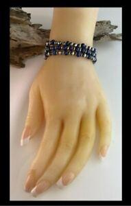 White Fox Creation: Sterling and Lapis Lazuli 3 Strand Bracelet