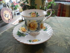 Vintage Elizabethan Tea Cup and Saucer Yellow Rose Pattern  Marked England