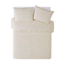 Prairie By Rachel Ashwell Textured Stripe Comforter Set, Queen, Almond Milk
