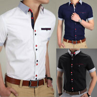 PODOM Men's Casual Shirt Slim Fit Short Sleeve Dress Shirts T-Shirts Tee Tops