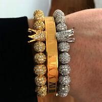 Anil Arjandas Luxury Gold Plated Cubic Zirconia Beads Crown Charm Bracelet Men