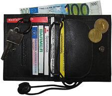 LEDER Brustbeutel SAFETY schwarz mit Schlüsselring Tasche Geldbörse Geldbeutel