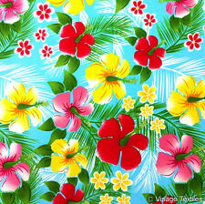 Bright Blue HAWAIIAN HIBISCUS flower fabric tropical tiki floral cotton aloha 1m