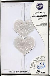 """50 Wilton White Wedding Invitation Kits """"MEANT TO BE"""" with Jacket & Envelopes"""