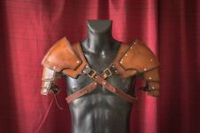 Medieval Brown Handmade Shoulder armor LARP armour Genuine Leather pauldrons