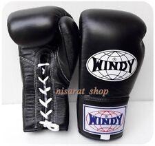 Genuine Windy Boxing Gloves Lace Up Bgl All Black 8,10,12 Oz. Muay Thai K1 Mma