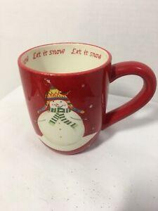 1 ONEIDA DEBBIE TAYLOR KERMAN SNOWMATES RED SNOWMAN CHRISTMAS HOLIDAY MUG CUP