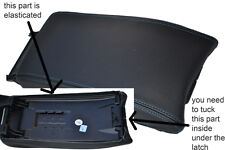 blue stitch FITS MERCEDES CLK 96-02 BLACK LEATHER ARMREST COVER