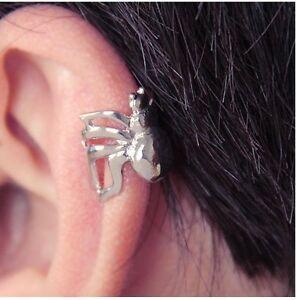 Little Silver Spider Cartilage Ear-Cuff Upper Helix Punk Rock Rebel Alternative