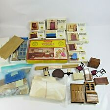 Huge Lot of Vintage Dollhouse Parts & Pieces Doll House Miniatures Collection