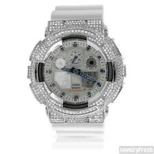 Silver White Custom CZ Casio G-Shock GA-100 Watch
