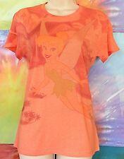 Disney Tinker Bell Flying Women's Junior T-Shirt Orange's T-Shirt Size X-Small